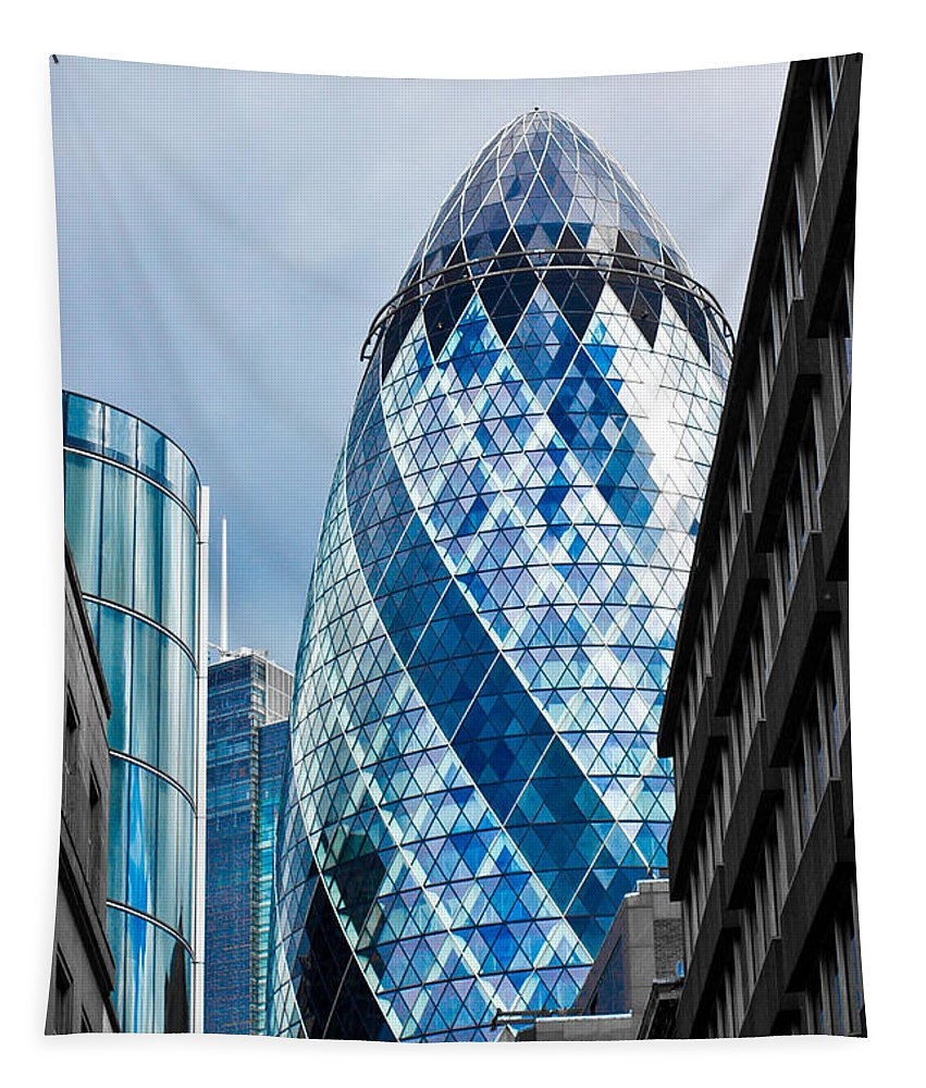 The Gherkin Tapestry featuring the photograph The Gherkin London by David Pyatt