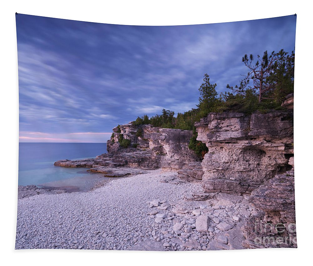 Georgian Bay Tapestry featuring the photograph Georgian Bay Cliffs At Sunset by Oleksiy Maksymenko
