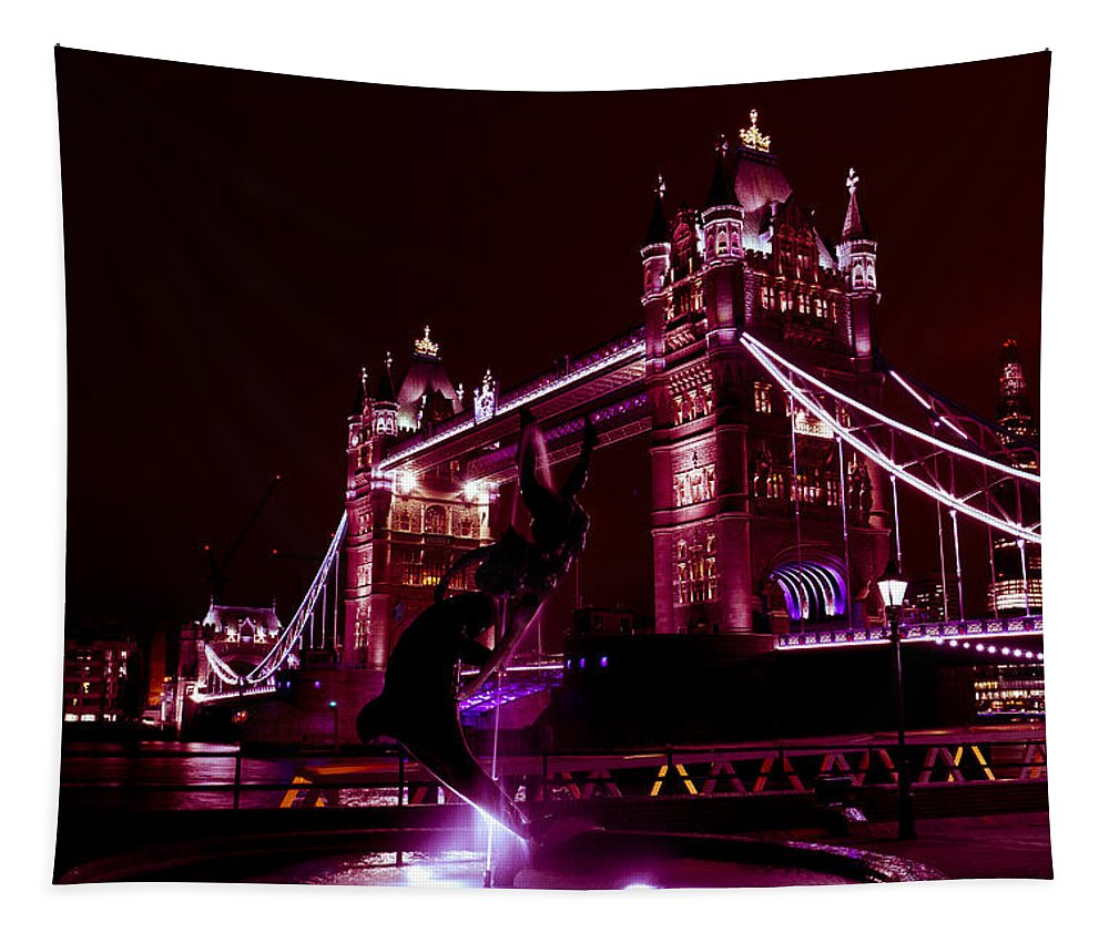 Tower Bridge Tapestry featuring the photograph Tower Bridge And The Girl And Dolphin Statue by David Pyatt