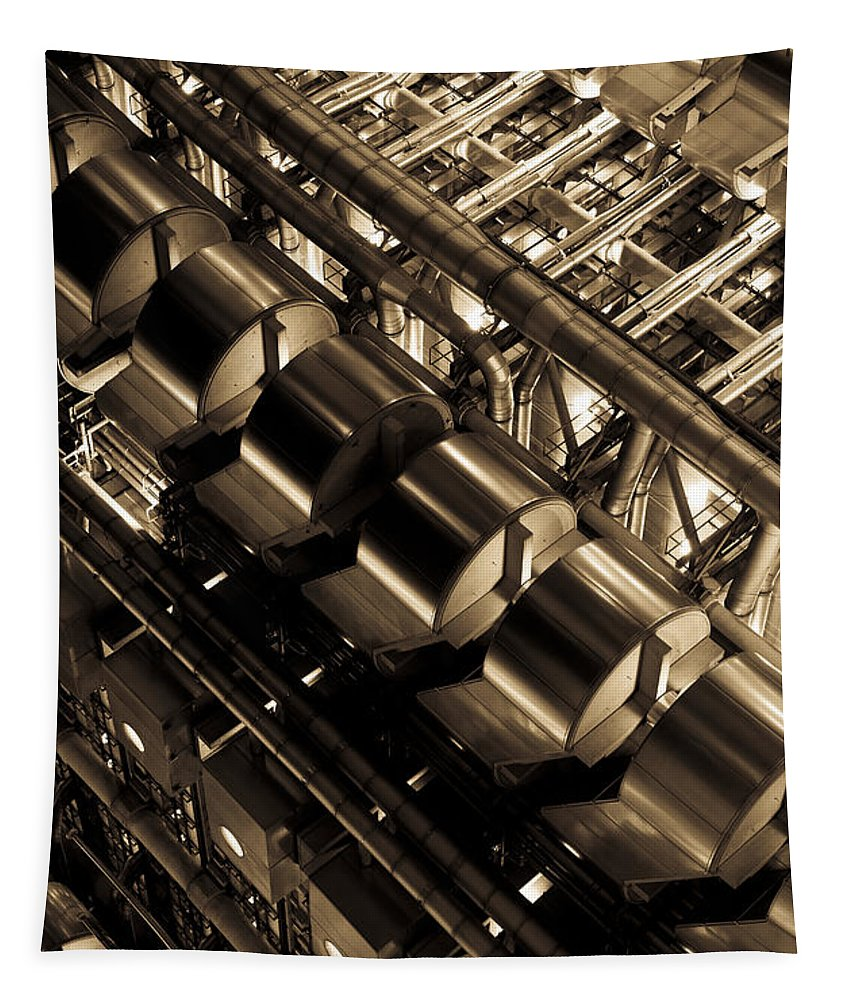 Abstract Tapestry featuring the photograph Lloyd's Building London Abstract by David Pyatt