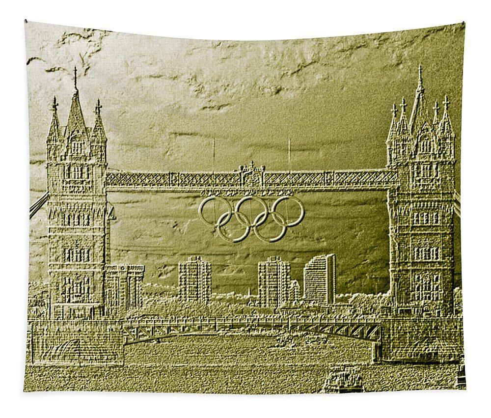 Tower Bridge Tapestry featuring the digital art Tower Bridge Art by David Pyatt