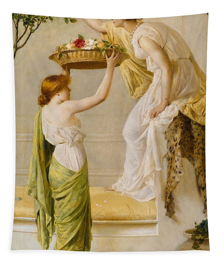 Basket Tapestry featuring the painting A Basket Of Roses - Grecian Girls by Henry Thomas Schaefer