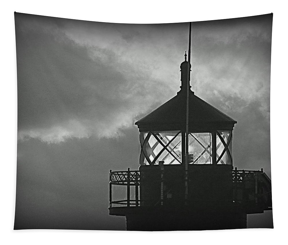 Lighthouse Tapestry featuring the photograph A Beacon In The Night by Kay Novy