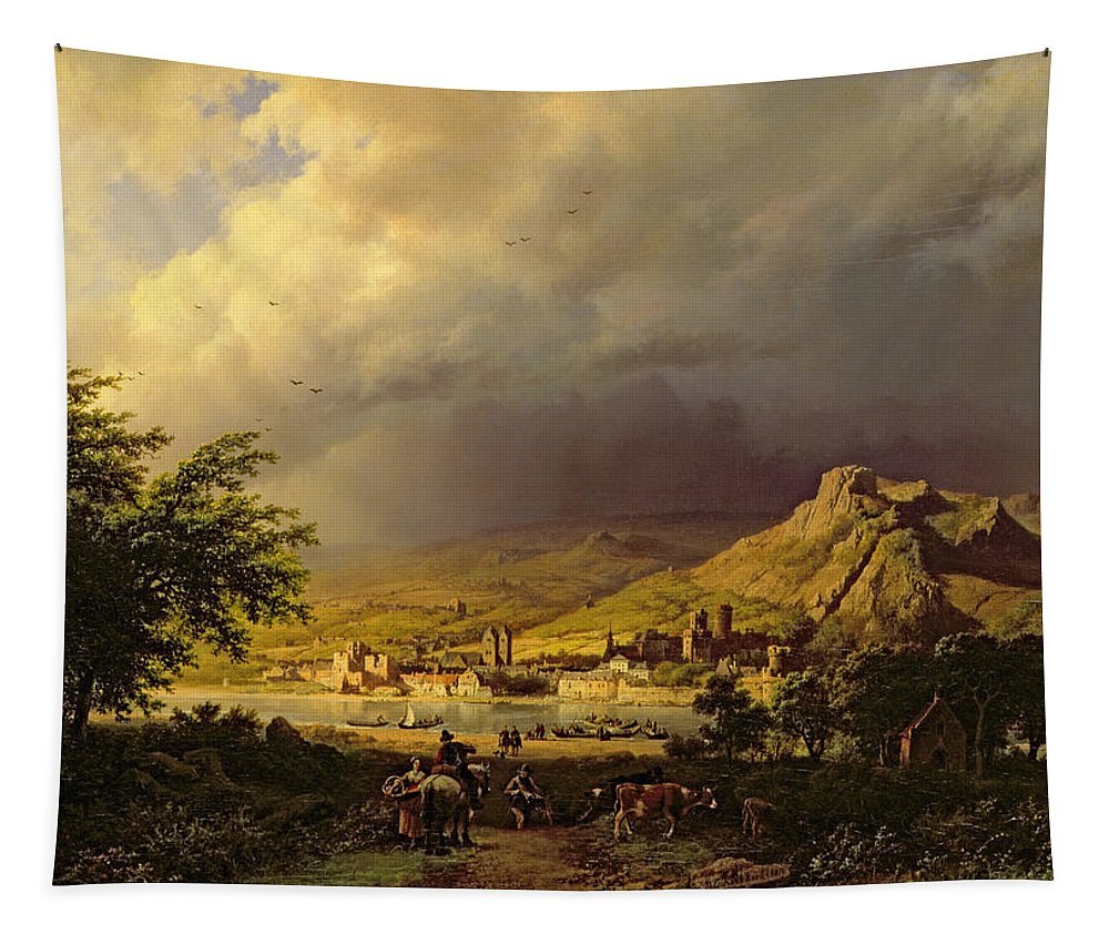 Landscape; Stormy; Weather; Mountain; Mountainous; River; Town; Riverbank; Cow; Horse; Storm Cloud; Tree; Trees Tapestry featuring the painting A Coming Storm by Barend Cornelis Koekkoek