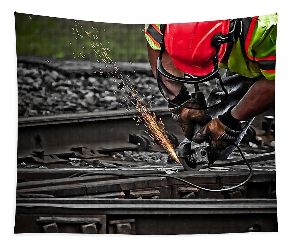 Rail Tapestry featuring the photograph A Grinding Job by Mike Martin