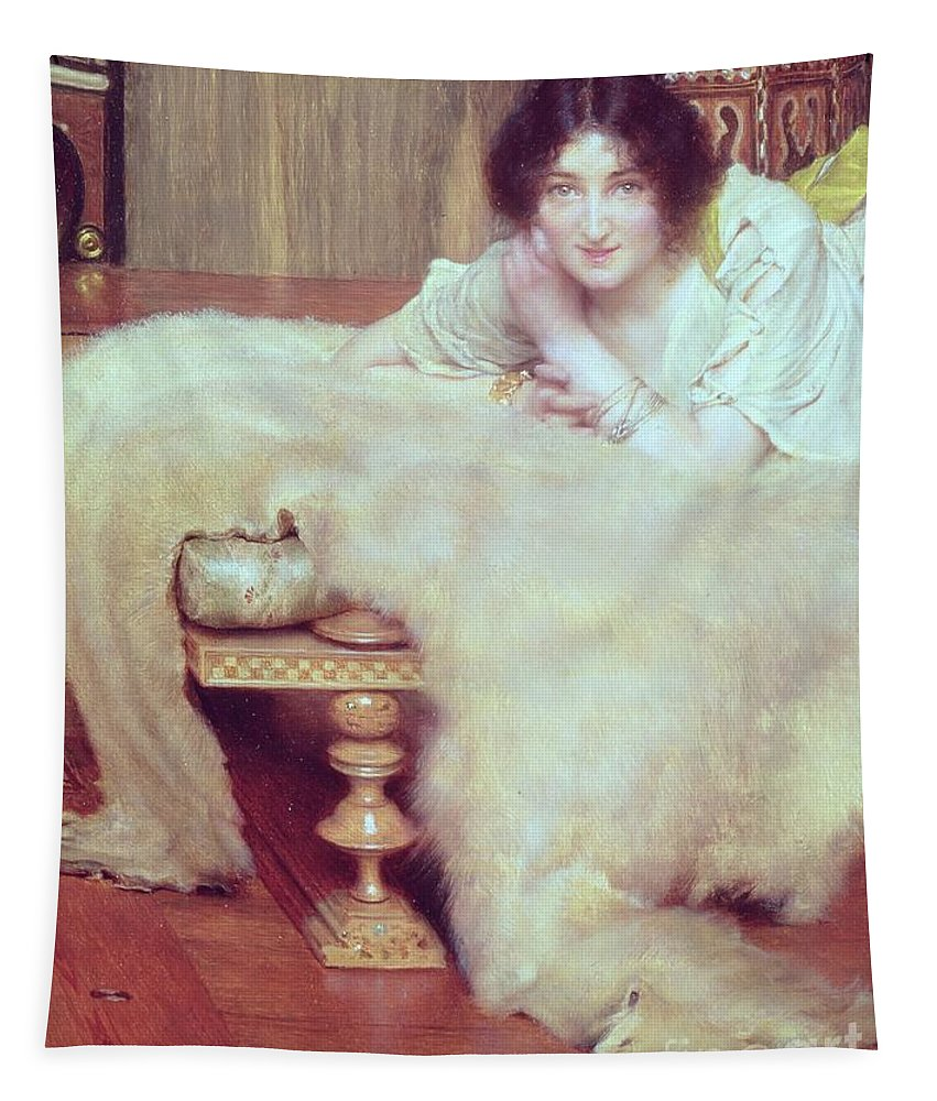 Listener Tapestry featuring the painting A Listener - The Bear Rug by Sir Lawrence Alma-Tadema