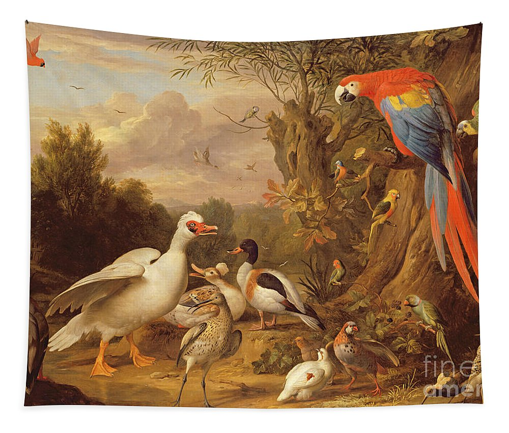 Xyc206189 Tapestry featuring the photograph A Macaw - Ducks - Parrots And Other Birds In A Landscape by Jakob Bogdani