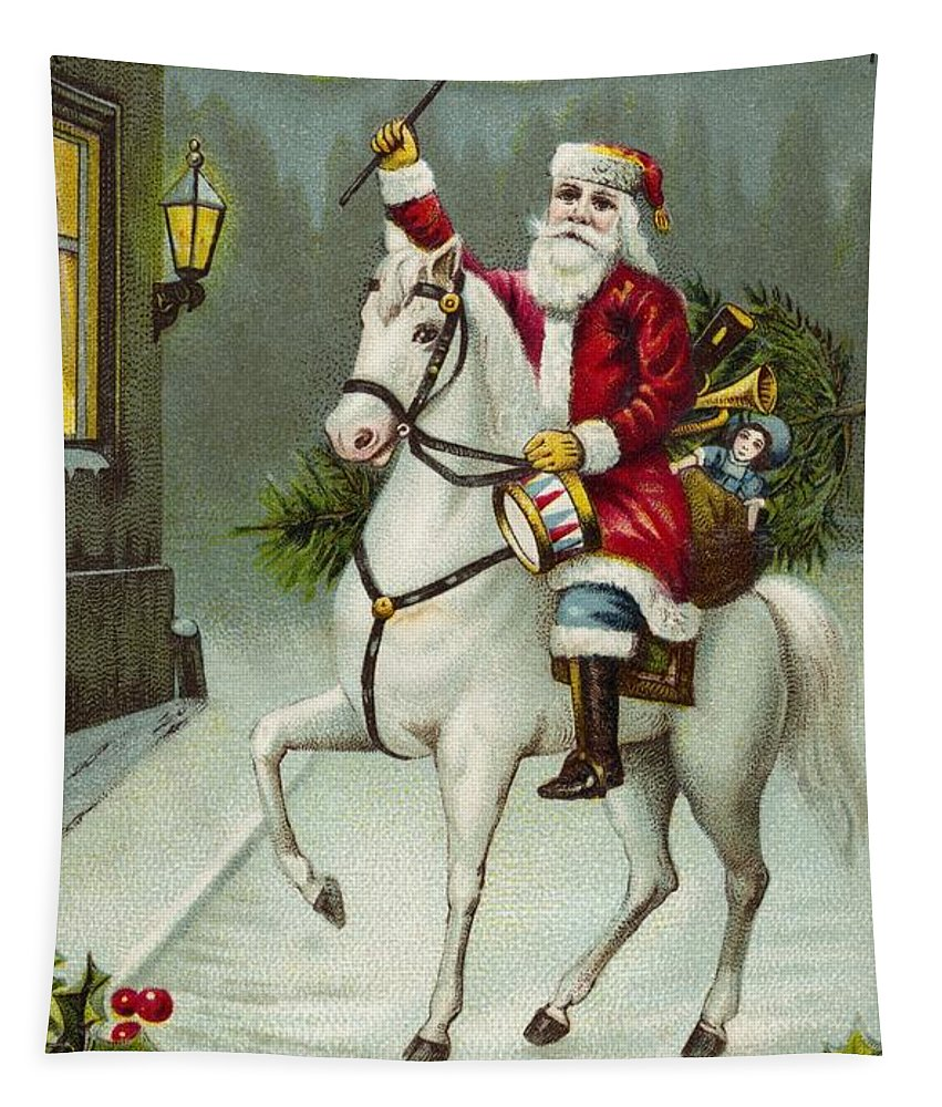 Christmas Card Tapestry featuring the painting A Merry Christmas Card Of Santa Riding A White Horse by American School