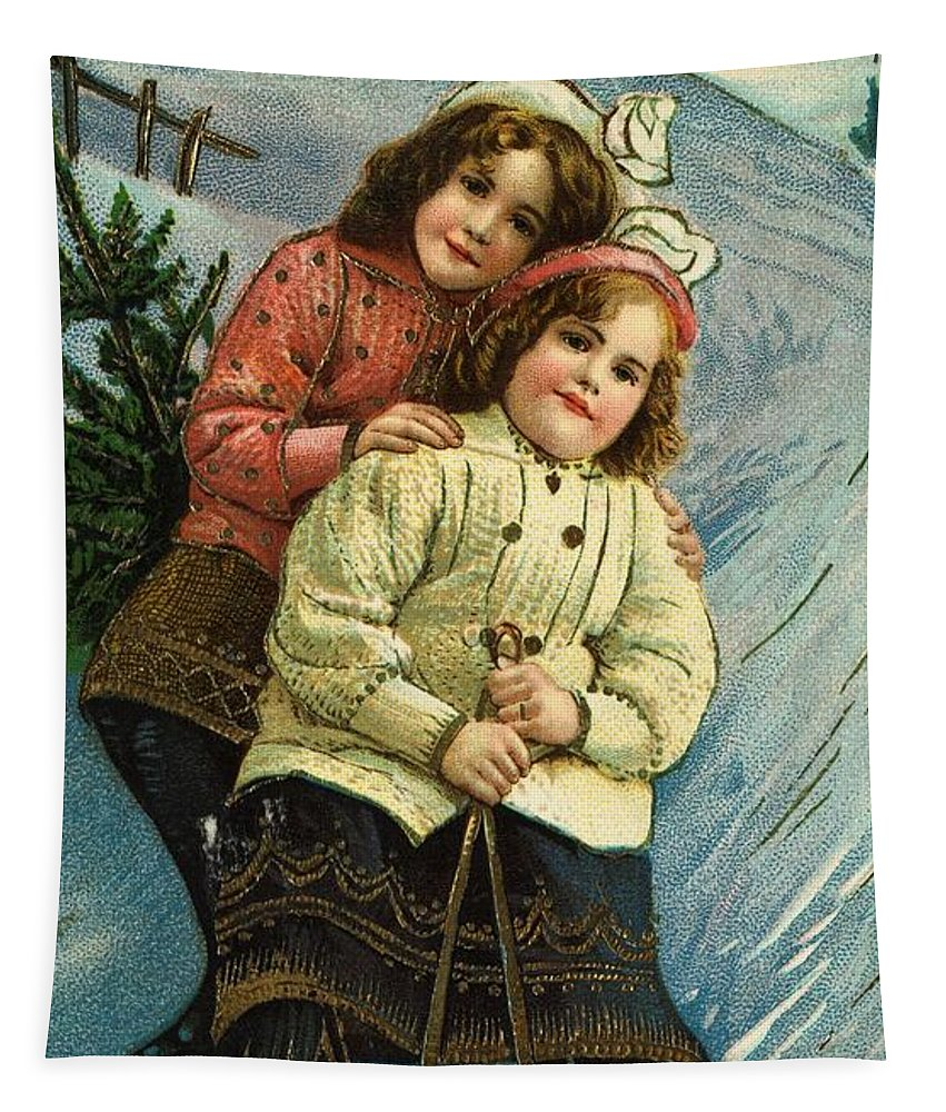 Winter Tapestry featuring the painting A Merry Christmas Postcard With Sledding Girls by American School