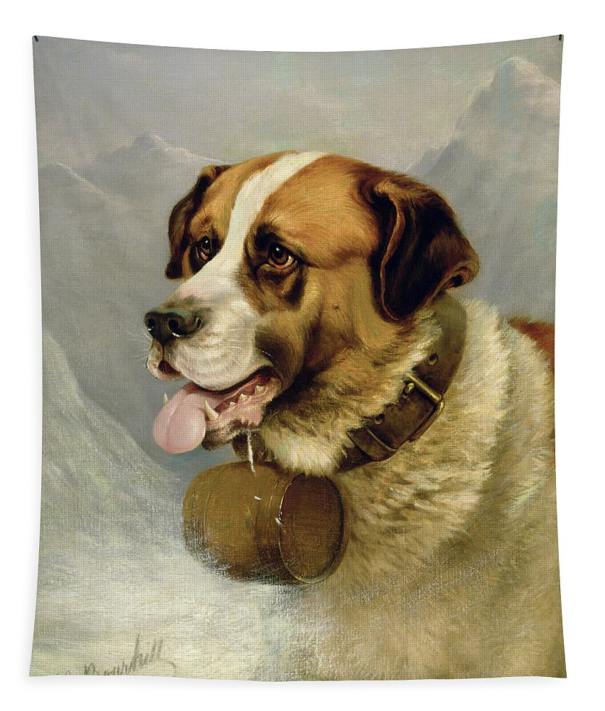 Cask; Dog; Alps Tapestry featuring the painting A Portrait Of A St. Bernard by James E Bourhill