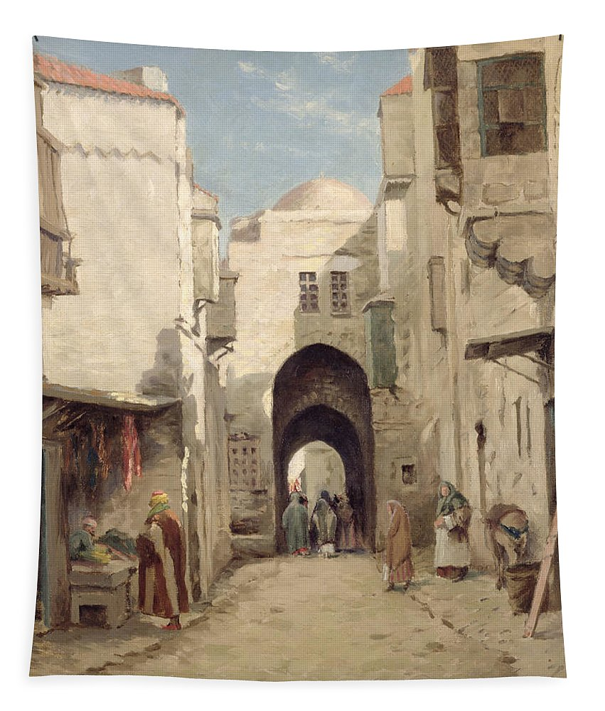 Holy City; Urban; Arch; C19th; C20th; Israeli; Israel; Hanging; Carcass; Meat; Stall Tapestry featuring the painting A Street In Jerusalem by Percy Robert Craft