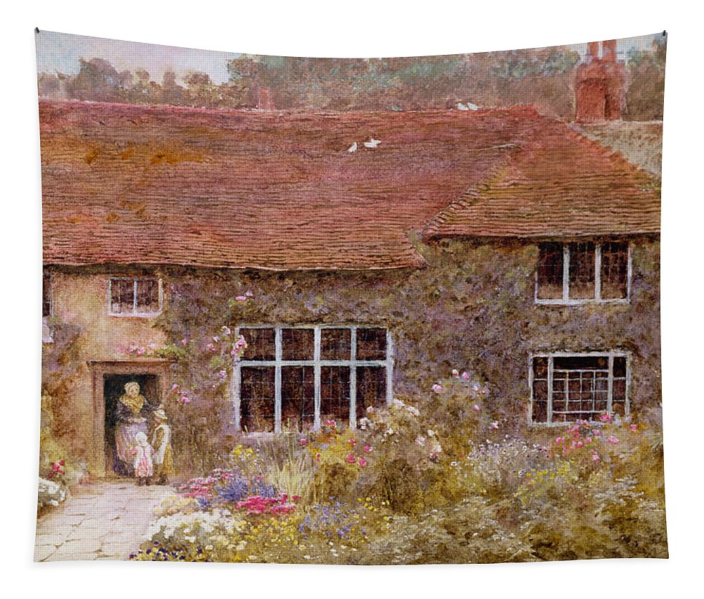 A Surrey Cottage Tapestry featuring the painting A Surrey Cottage by Helen Allingham