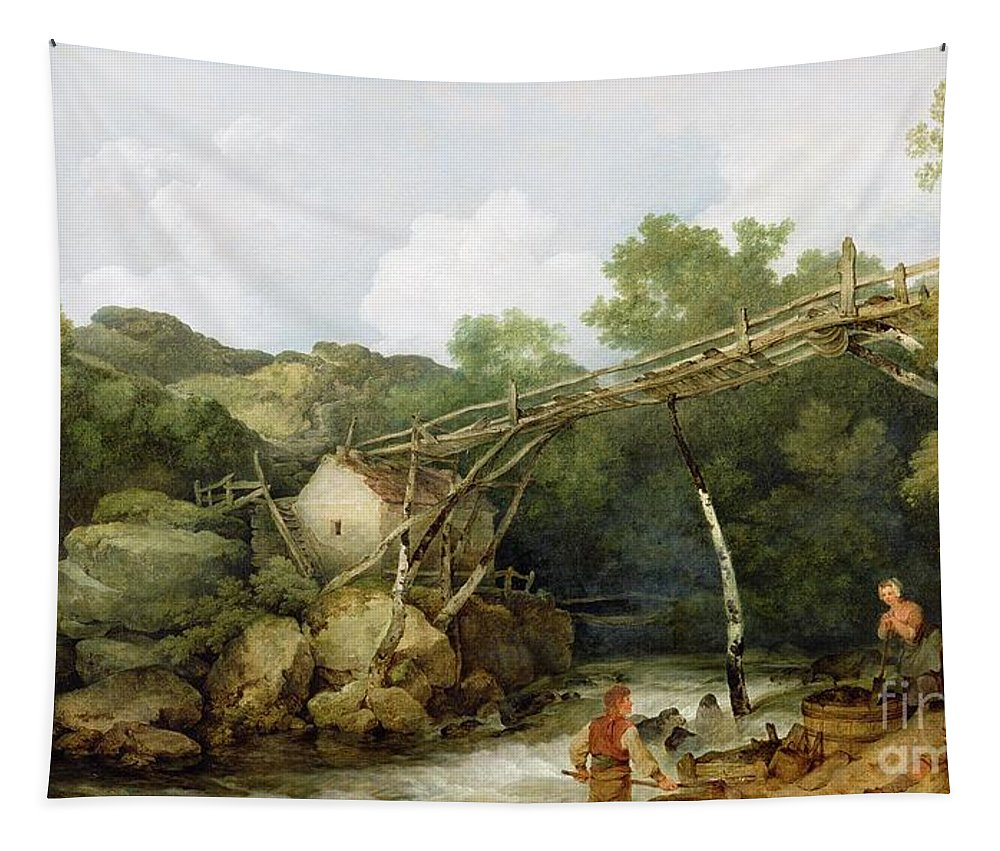 View Tapestry featuring the painting A View Near Matlock by Philip James Loutherbourg