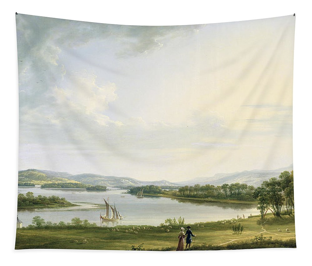 View Tapestry featuring the painting A View Of Knock Ninney And Part Of Lough Erne From Bellisle - County Fermanagh by Thomas Roberts