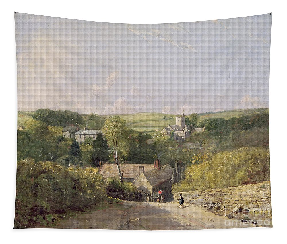 Xyc158030 Tapestry featuring the photograph A View Of Osmington Village With The Church And Vicarage by John Constable