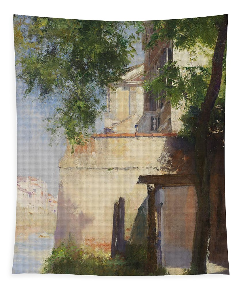 A View Of Venice From A Terrace (oil On Canvas)sunlight; Mediterranean; Shore Tapestry featuring the painting A View Of Venice From A Terrace by Henry Woods