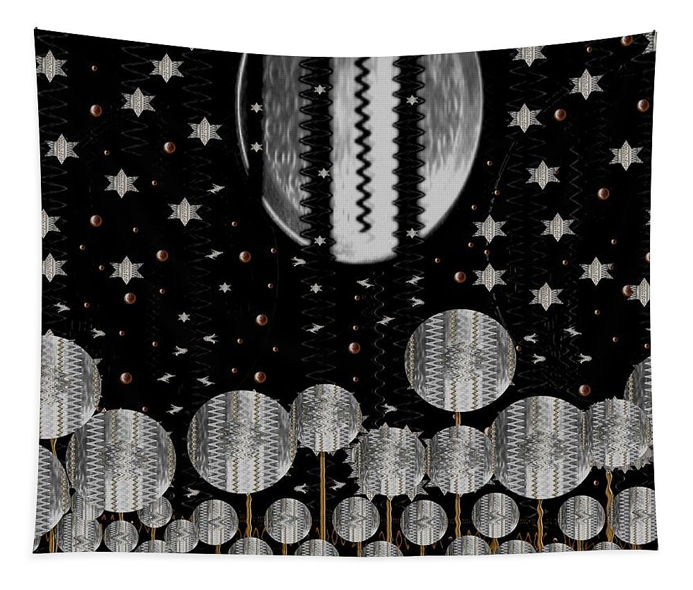 Moon Tapestry featuring the mixed media A Wonderful Night by Pepita Selles