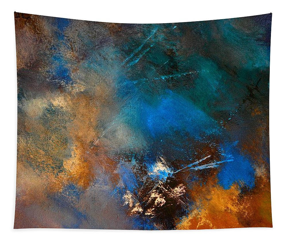 Abstract Tapestry featuring the painting Abstract 69210151 by Pol Ledent