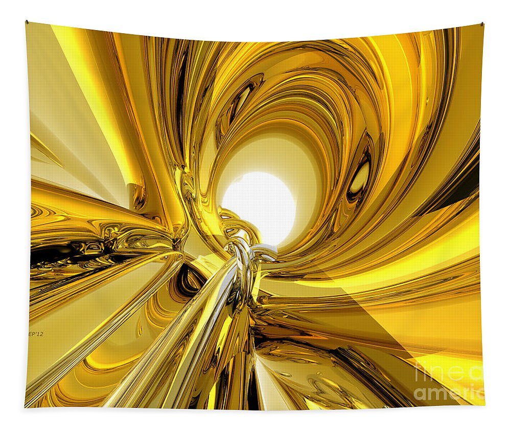 Abstract Tapestry featuring the digital art Abstract Gold Rings by Phil Perkins