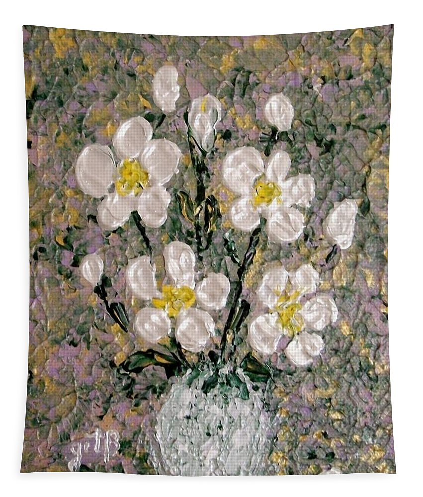 White Roses Tapestry featuring the painting Abstract Wild Roses Heavy Impasto by Georgeta Blanaru