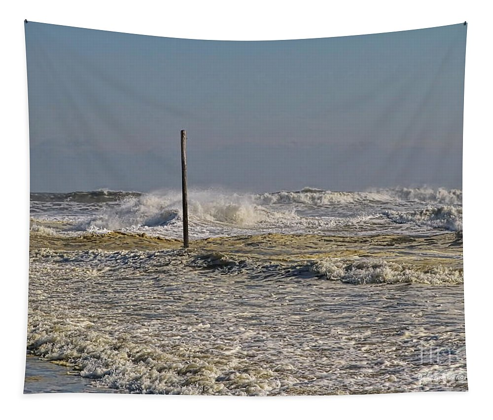 Waves Tapestry featuring the photograph After Storm Sandi by Deborah Benoit
