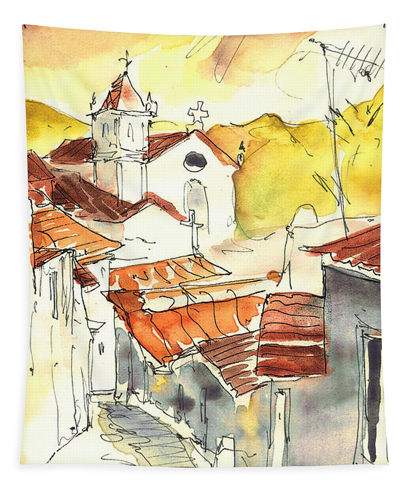 Travel Tapestry featuring the painting Alcoutim In Portugal 06 by Miki De Goodaboom