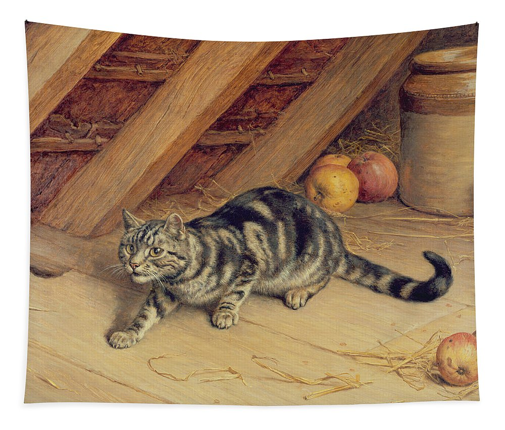 Cat; Apples; Loft Tapestry featuring the painting Alert by Frank Paton