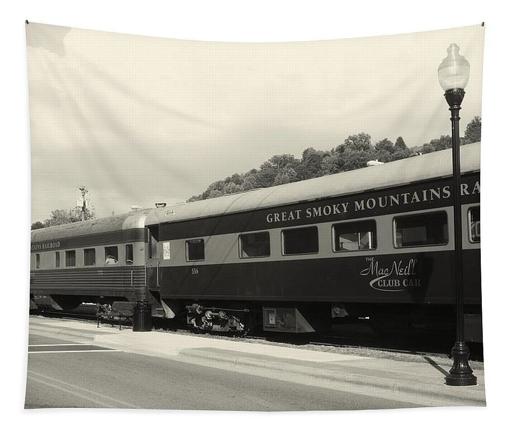 Train Tapestry featuring the photograph all Aboard by Phil Cappiali Jr