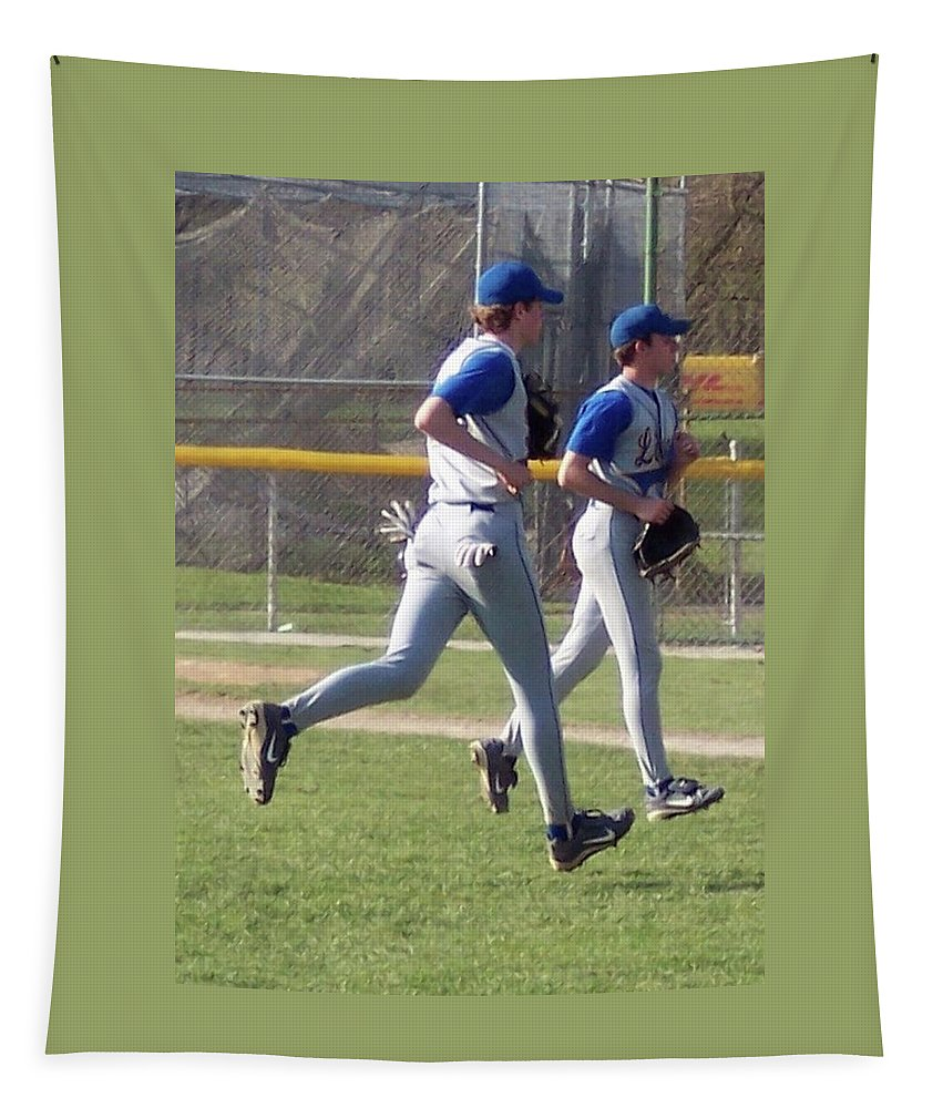 Sports Tapestry featuring the photograph All Air Baseball Players Running by Thomas Woolworth