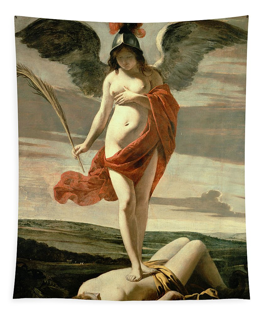 Female; Nude; Breast; Symbolic; Patriotic; Martyr's Palm; Helmet;winged; Landscape;triumph; Suppression; Allegorie De La Victoire Tapestry featuring the painting Allegory Of Victory by Louis Le Nain