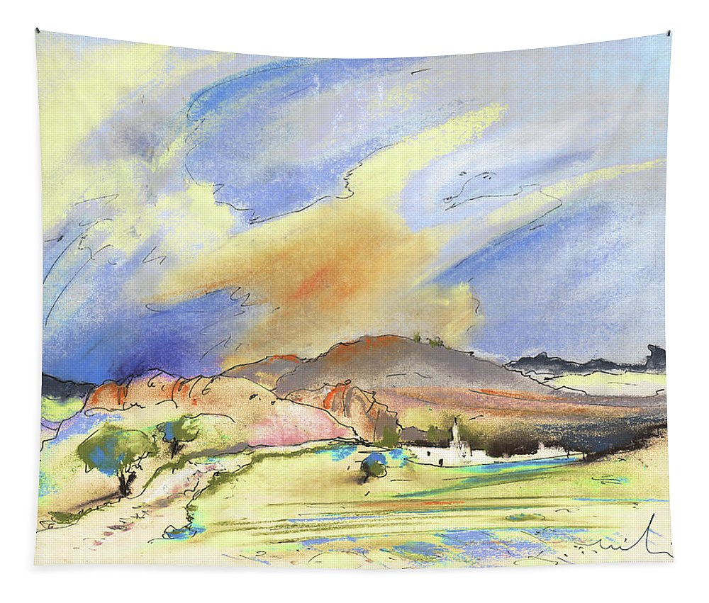 Landscapes Tapestry featuring the painting Almeria Region In Spain 01 by Miki De Goodaboom