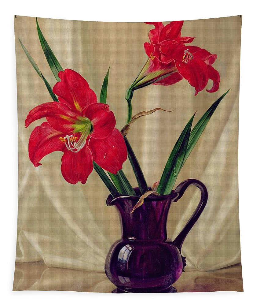 Flower; Lily; Red; Flower; Arrangement; Amaryllis; Lillie's; Jug; Glass Jug; Purple Jug; Flowers; Still Life; Floral;still Life Tapestry featuring the painting Amaryllis Lillies In A Dark Glass Jug by Albert Williams