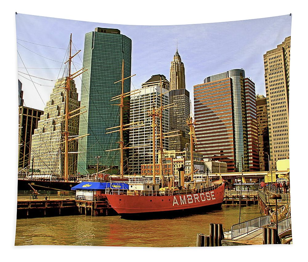Ambrose Ship New York Water Waterfront Seaport Tapestry featuring the photograph Ambrose by Alice Gipson