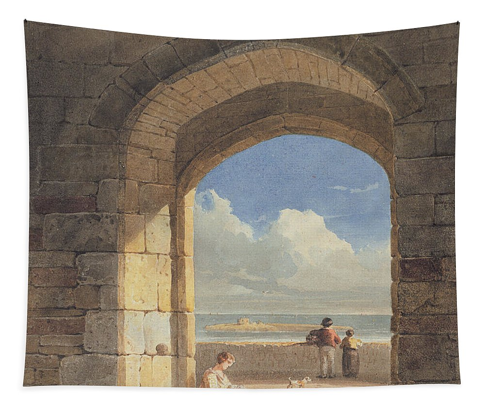 Arch Tapestry featuring the painting An Arch At Holy Island - Northumberland by John Varley
