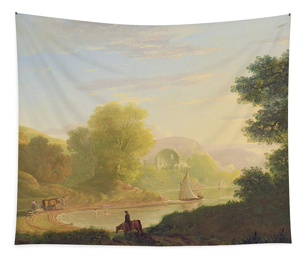 Imaginary Tapestry featuring the painting An Imaginary Coast Scene - With The Temple Of Venus At Baiae by Thomas Jones