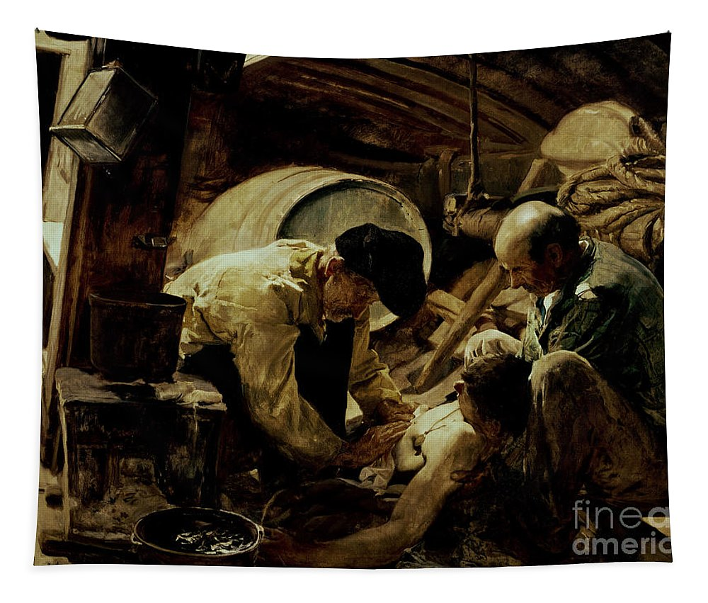 And They Still Say Fish Is Expensive Tapestry featuring the painting And They Still Say Fish Is Expensive by Joaquin Sorolla y Bastida