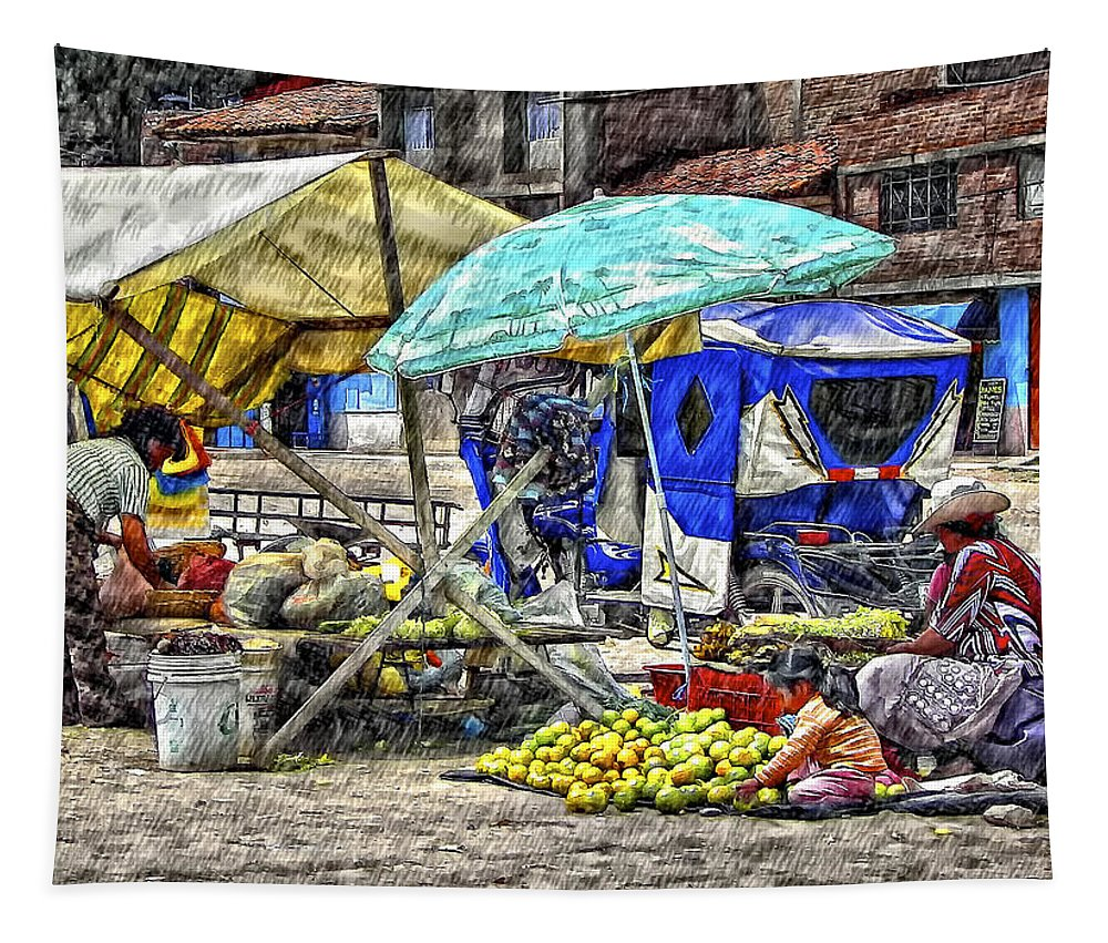 Peru Tapestry featuring the photograph Andes Market by Steve Harrington
