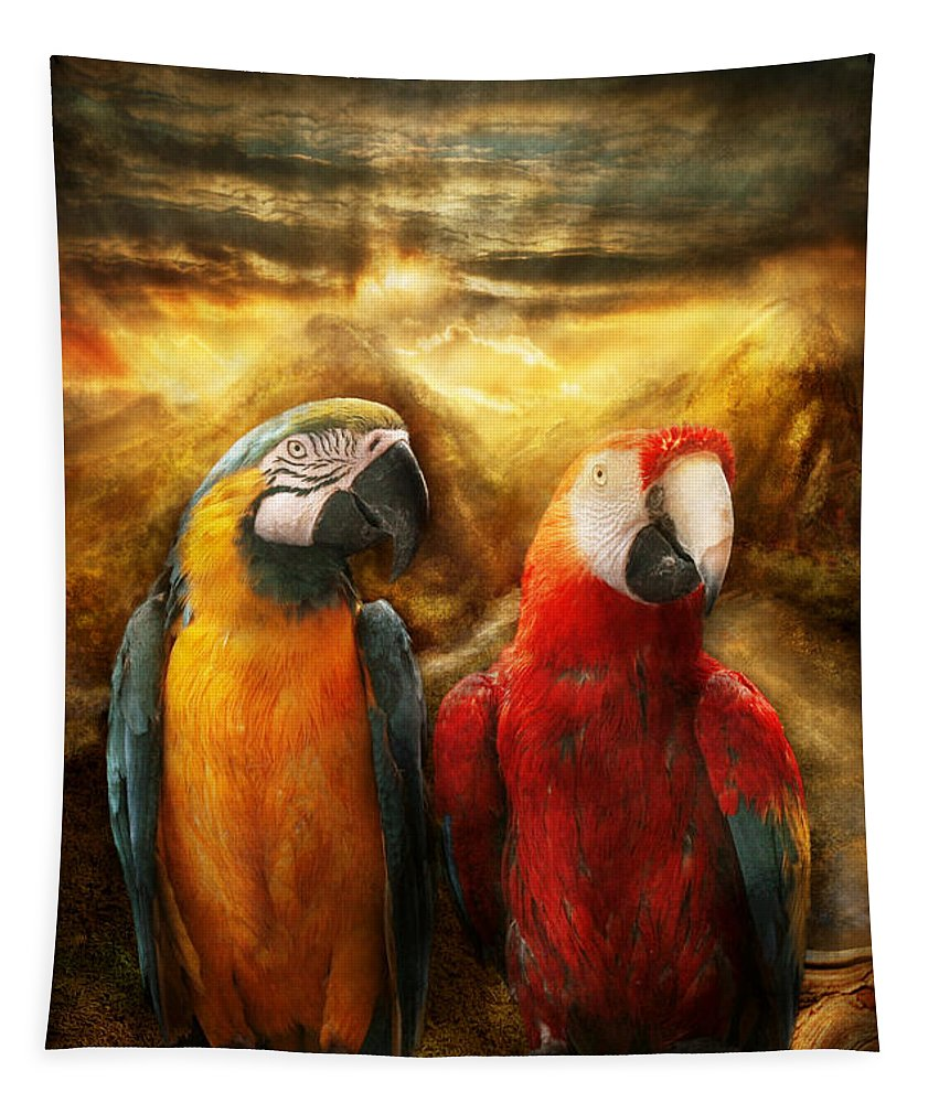 Parrot Tapestry featuring the photograph Animal - Parrot - Parrot-dise by Mike Savad