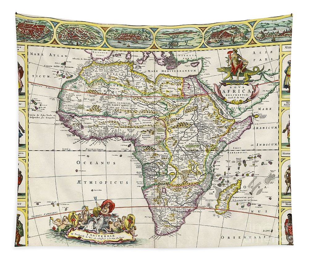 Map Of Africa Tapestry featuring the drawing Antique Map Of Africa by Dutch School