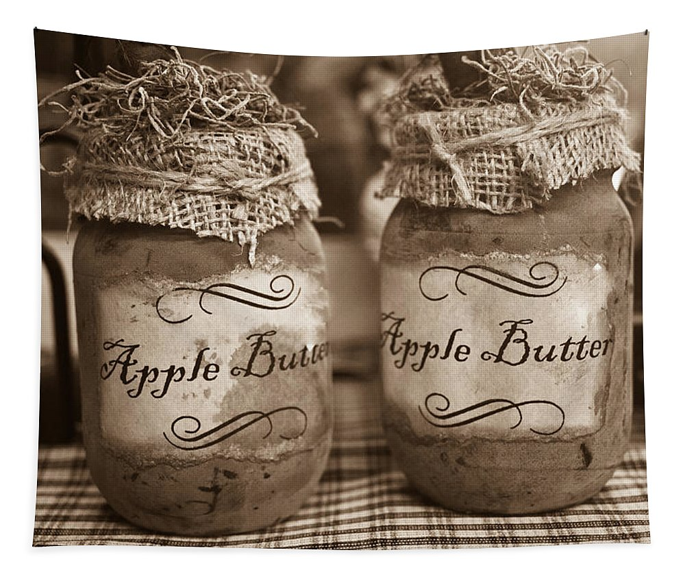 Apple Tapestry featuring the photograph Apple Butter in Sepia by Douglas Barnett