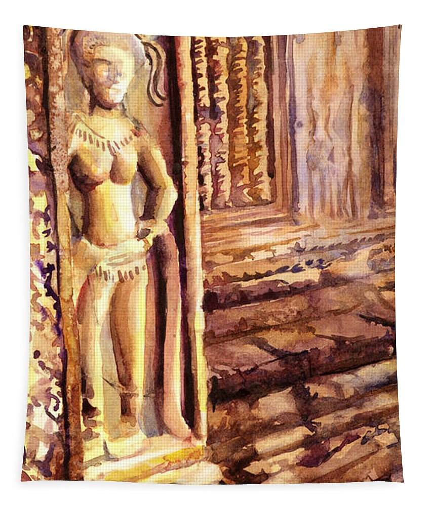 Ancient Tapestry featuring the painting Apsara Bas-relief by Ryan Fox