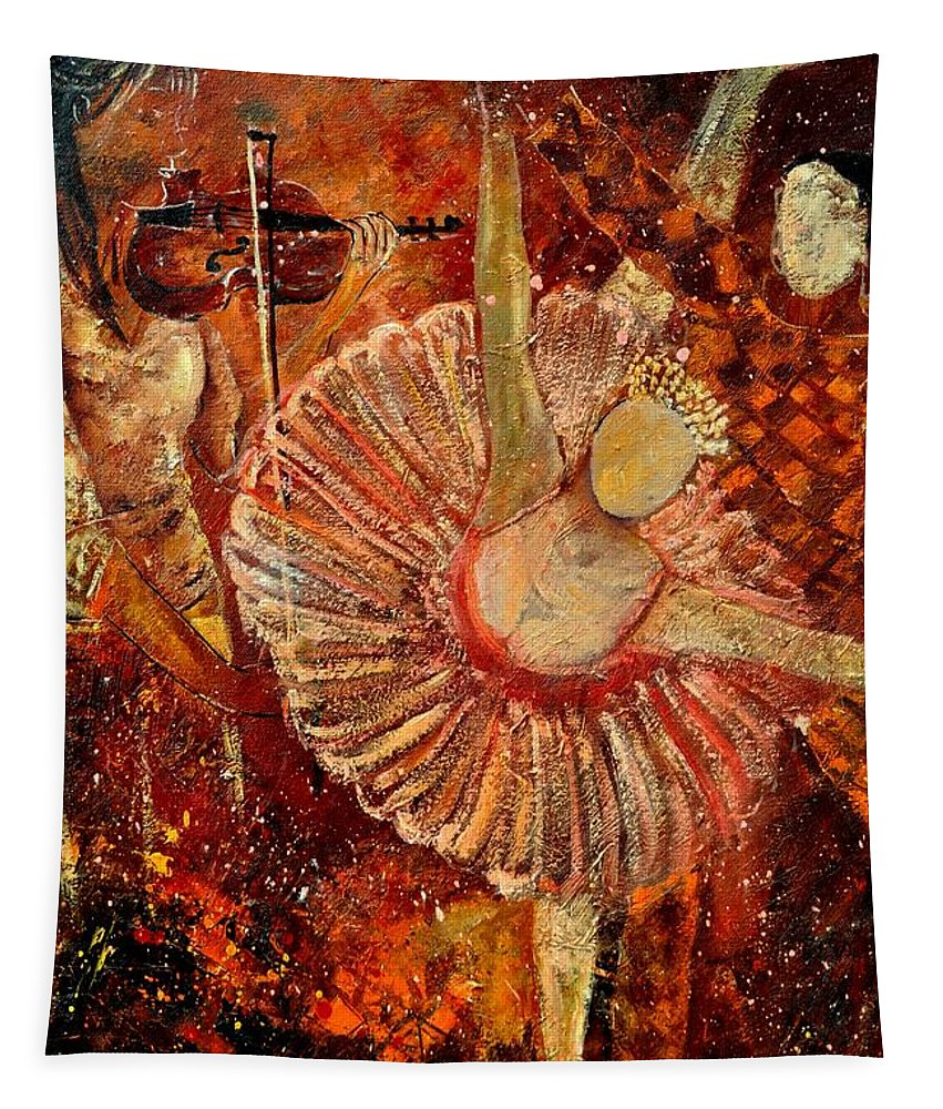 Dance Tapestry featuring the painting Arlequino And The Ballet Dancer by Pol Ledent