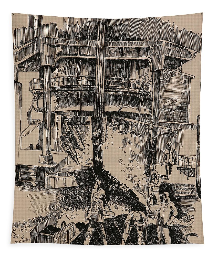 Metallurgical Furnace Tapestry featuring the drawing At The Blast Furnace by Ylli Haruni