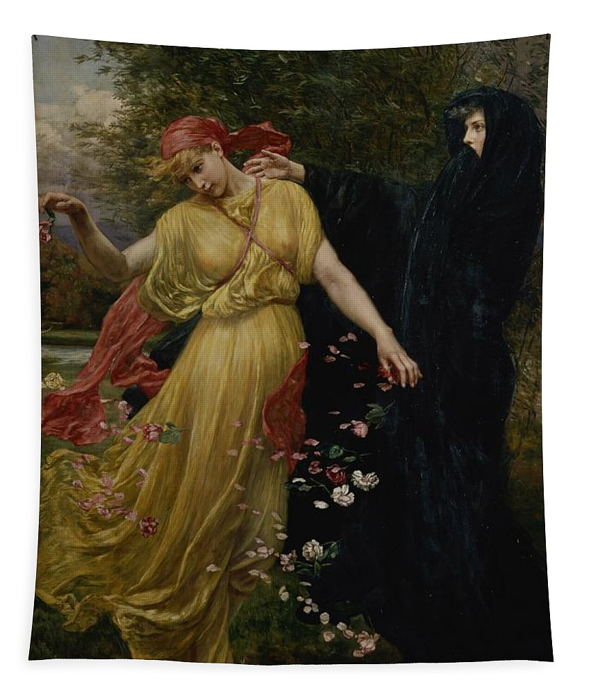Grb; Head; Scarf ;petals; Cloak; Allegorical Tapestry featuring the painting At The First Touch Of Winter Summer Fades Away by Valentine Cameron Prinsep
