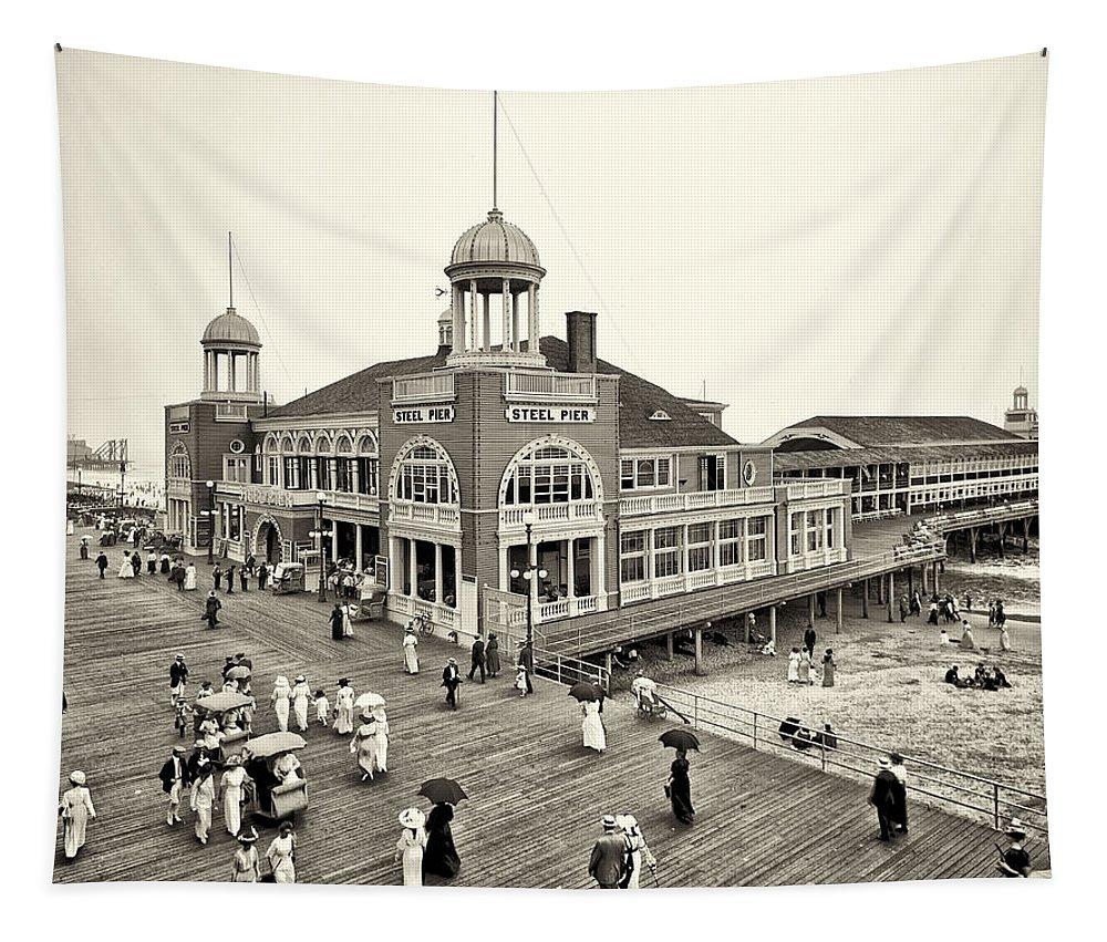 Atlantic City Steel Pier 1910 Tapestry featuring the photograph Atlantic City Steel Pier 1910 by Bill Cannon