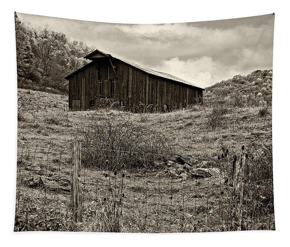 West Virginia Tapestry featuring the photograph Autumn Barn Sepia by Steve Harrington