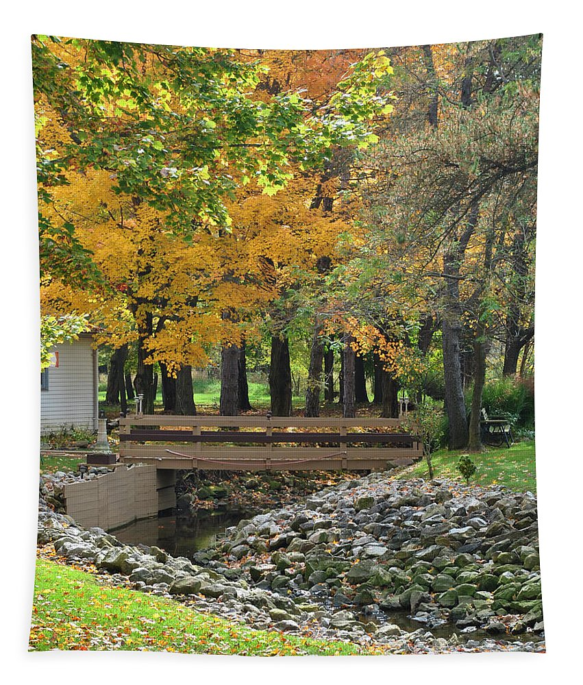 Autumn Tapestry featuring the photograph Autumn Bridge by Frozen in Time Fine Art Photography
