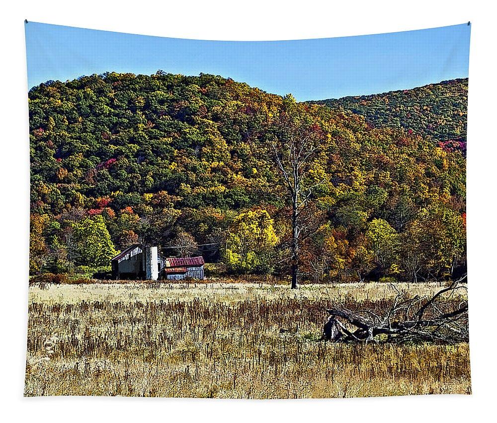 West Virginia Tapestry featuring the photograph Autumn Farm Painted by Steve Harrington