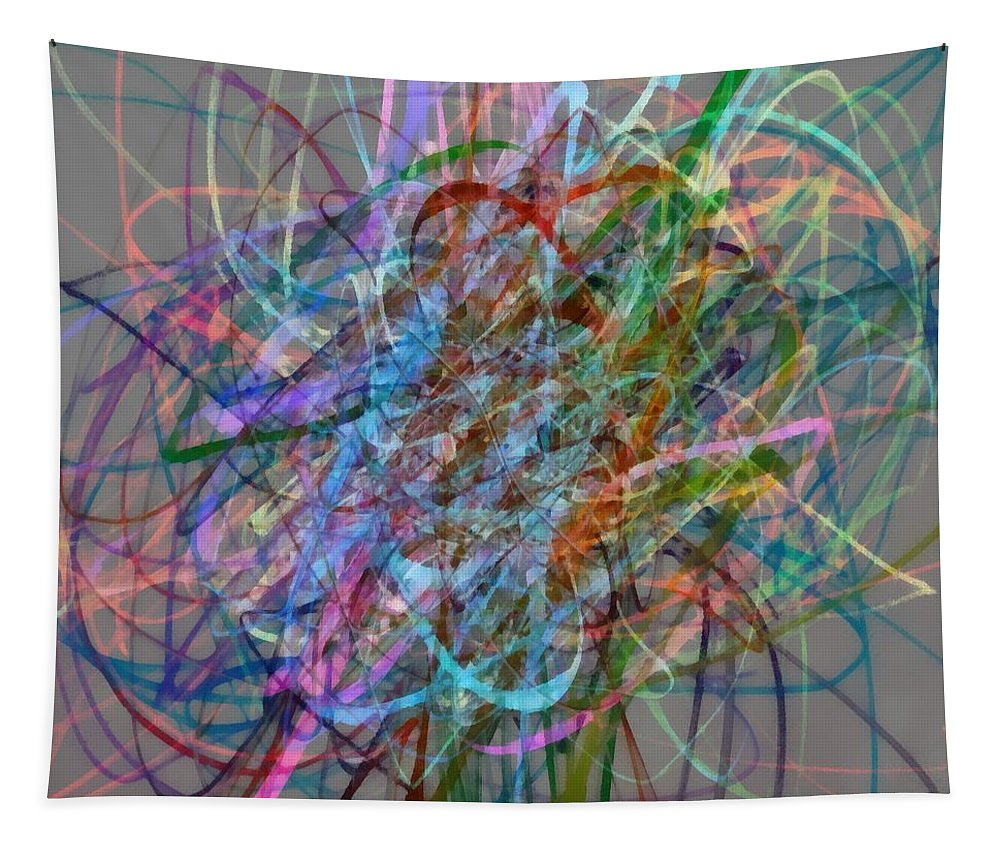 Abstract Tapestry featuring the digital art Autumn Likes Lines by Michelle Calkins