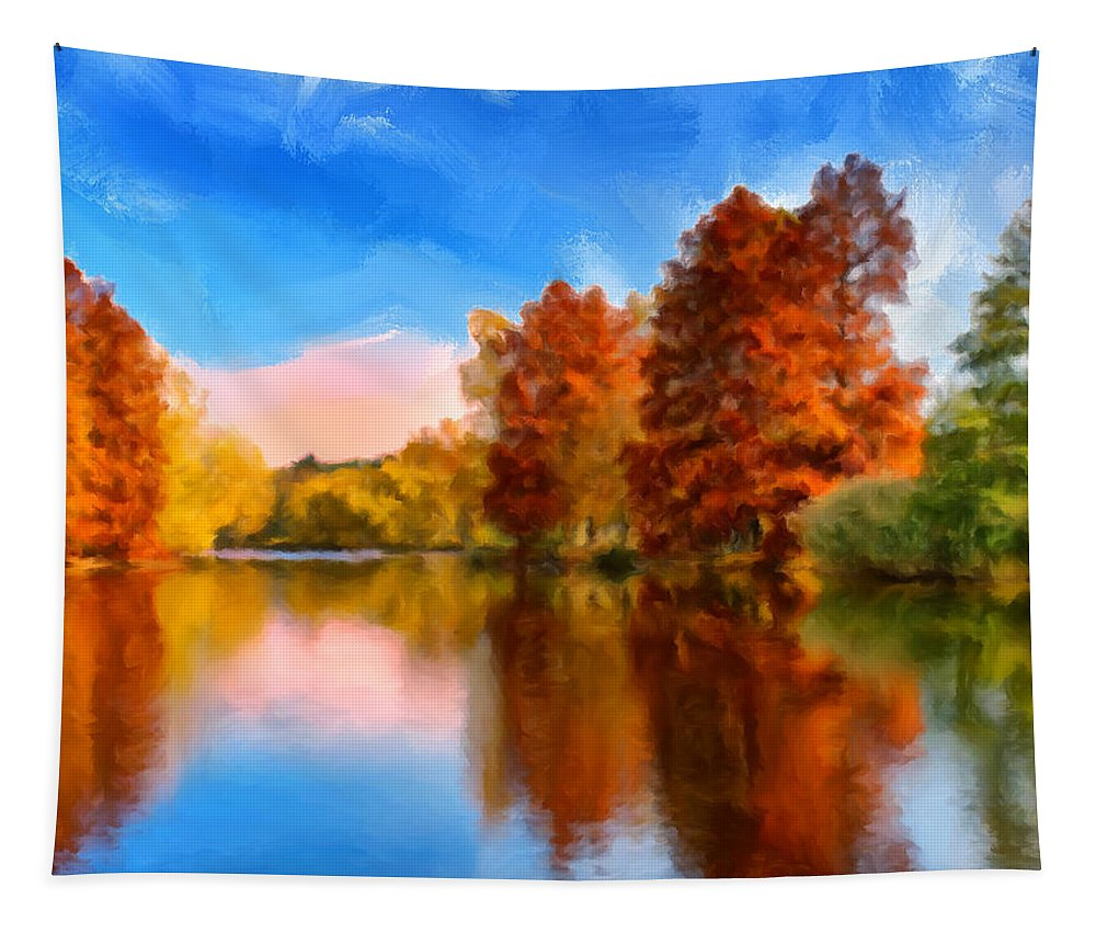 Autumn Tapestry featuring the painting Autumn On The Lake by Dominic Piperata